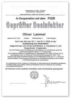Zertifikat Geprüfter Desinfektor