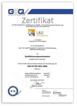 Zertifikat Qualitätsmanagementsystem